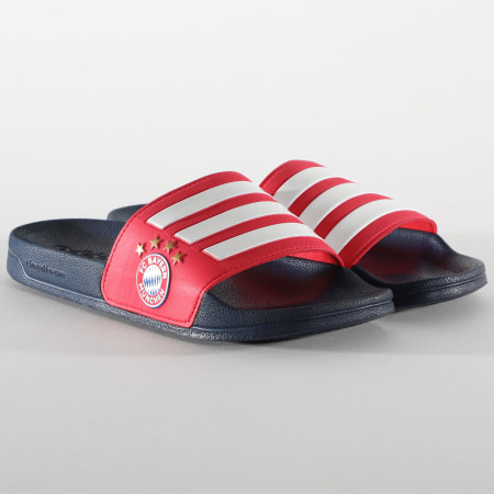 adidas - Claquettes Adilette Shower Bayern Munich FW7076 Bleu Marine Rouge
