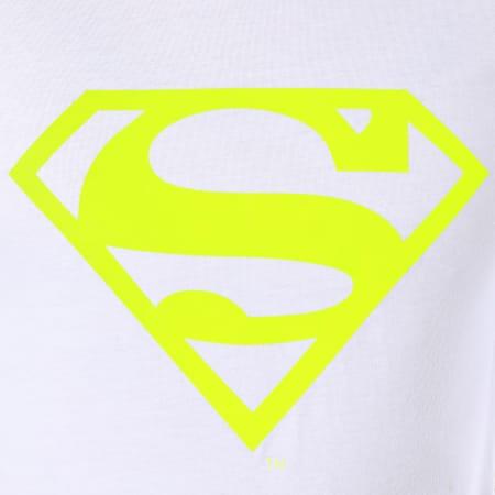Superman - Tee Shirt Neon Logo Blanc Jaune Fluo
