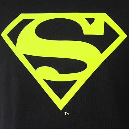 Superman - Tee Shirt Neon Logo Noir Jaune Fluo
