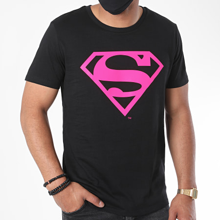 Superman - Tee Shirt Neon Logo Noir Rose Fluo
