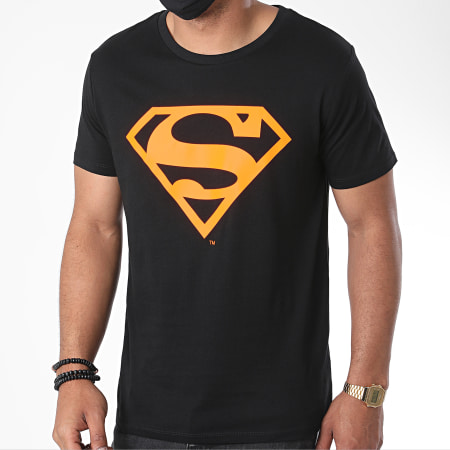 Superman - Tee Shirt Neon Logo Noir Orange Fluo