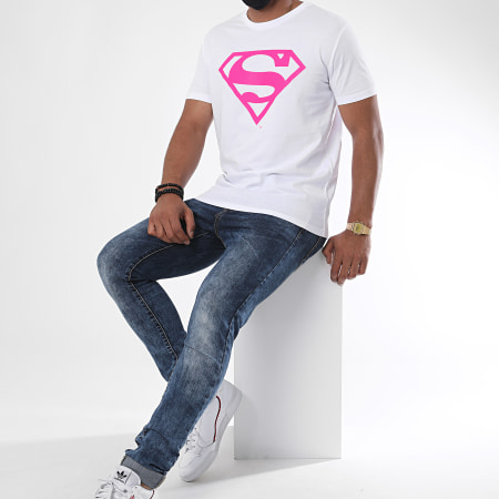 Superman - Tee Shirt Neon Logo Blanc Rose Fluo