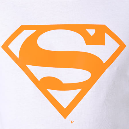 Superman - Tee Shirt Neon Logo Blanc Orange Fluo