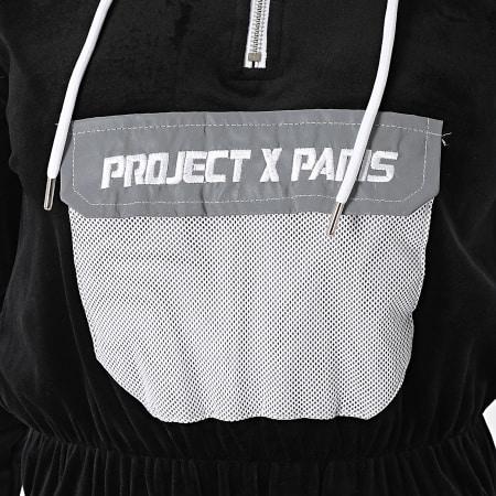 Project X - Sweat Capuche Crop Femme F202085 Noir Réfléchissant