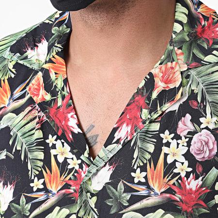 Aarhon - Chemise Manches Courtes Floral 92910 Noir