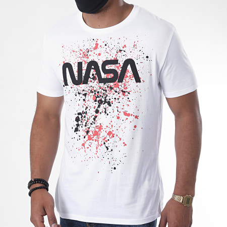 NASA - Tee Shirt Worm Splatter Blanc Orange