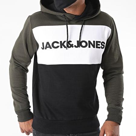 Jack And Jones - Sweat Capuche Tricolore Logo Blocking Vert Kaki Blanc Noir