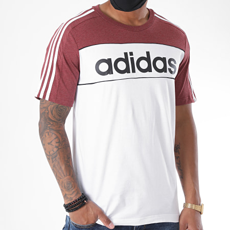 adidas - Tee Shirt A Bandes Essentials Tape GD5498 Blanc Bordeaux Chiné