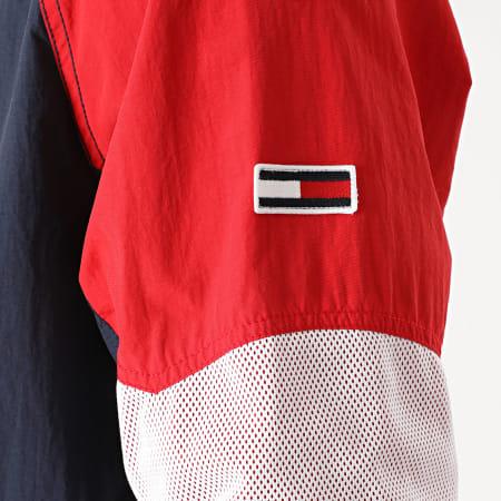 Tommy Hilfiger Jeans - Veste Zippée Capuche Mix Fabric 8426 Bleu Marine Rouge