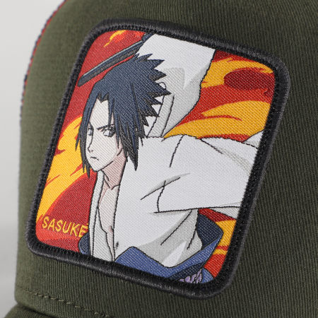 Naruto Shippuden - Casquette Trucker Sasuke Fire 1 CL-NS-1 Vert Kaki Noir