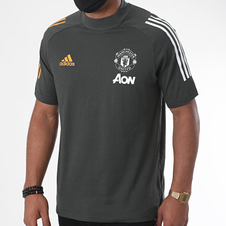 adidas - Tee Shirt De Sport A Bandes Manchester United FC FR3648 Gris Anthracite