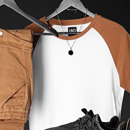 LBO - Lot de 2 Tee Shirts Raglan 1219 Blanc Noir Camel