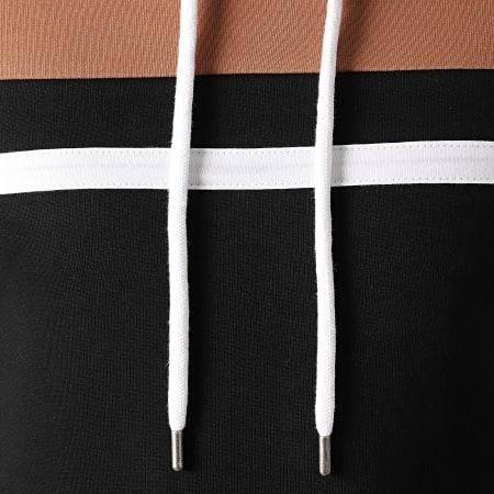 LBO - Sweat Capuche Tricolore 1273 Camel Blanc Noir