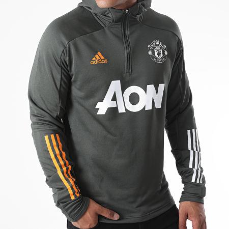 adidas - Sweat Col Zippé Capuche Manchester United FC TK GD3704 Vert Kaki