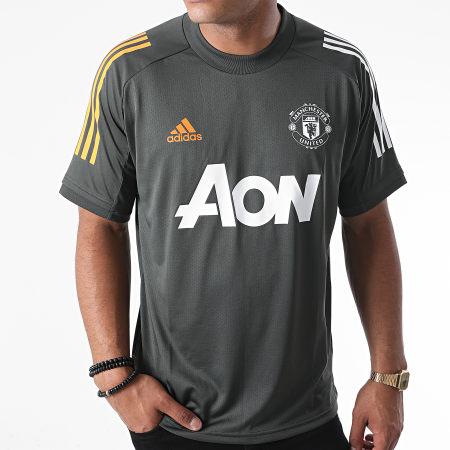 adidas - Tee Shirt De Sport A Bandes Manchester United FC FR3655 Vert Kaki