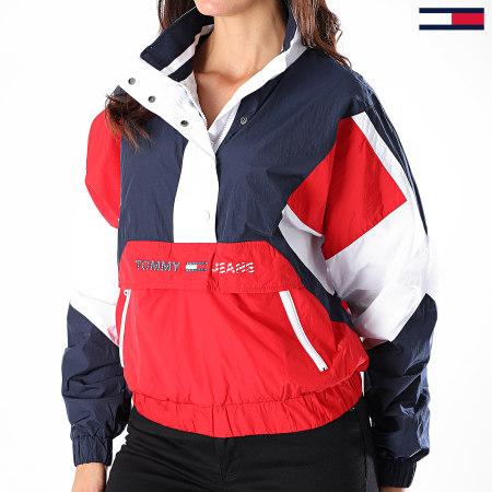 Tommy Jeans - Veste Col Zippé Femme Tricolore Colorblock Logo Popover 8580 Bleu Marine Rouge Blanc