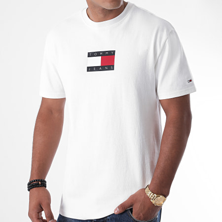 Tommy Jeans - Tee Shirt Small Flag 8351 Blanc