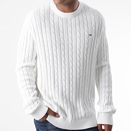 Tommy Jeans - Pull Essential Cable 8807 Blanc