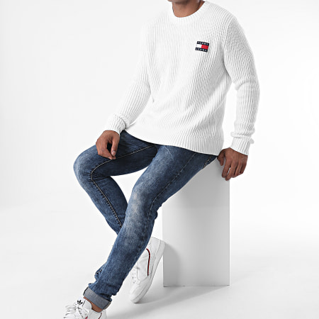 Tommy Jeans - Pull Tommy Badge 8808 Blanc