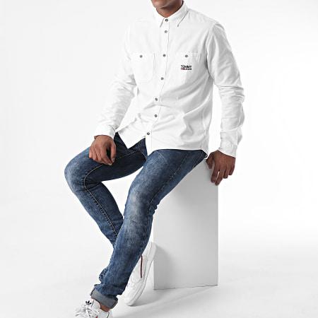 Tommy Jeans - Chemise Manches Longues Pocket Logo Chambray 8383 Blanc Cassé