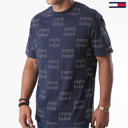 Tommy Jeans - Tee Shirt All Over Logos 8481 Bleu Marine