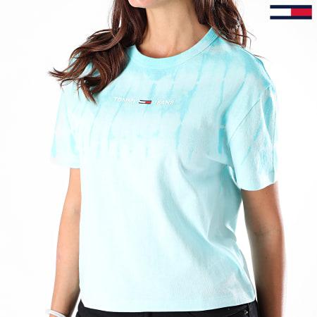 Tommy Jeans - Tee Shirt Femme Tie Dye Summer 8541 Bleu Clair