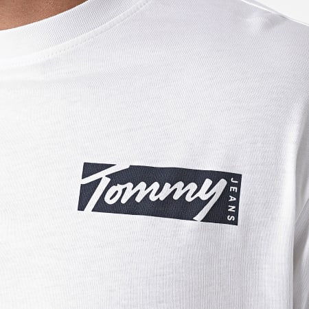 Tommy Jeans - Tee Shirt Manches Longues Script Box 8670 Blanc