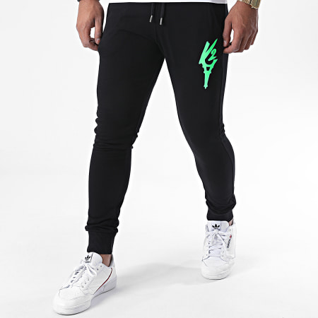 Da Uzi - Pantalon Jogging Logo Noir Vert Fluo