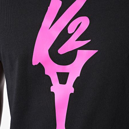 Da Uzi - Tee Shirt Logo Noir Rose Fluo