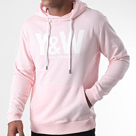 Y et W - Sweat Capuche Logo Rose Blanc
