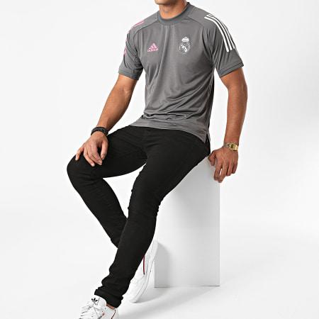 adidas - Tee Shirt De Sport A Bandes Real FQ7850 Gris