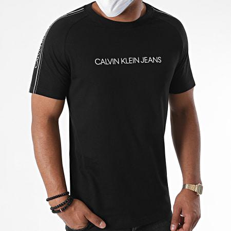 Calvin Klein - Tee Shirt A Bandes Logo Tape Shoulder 5983 Noir