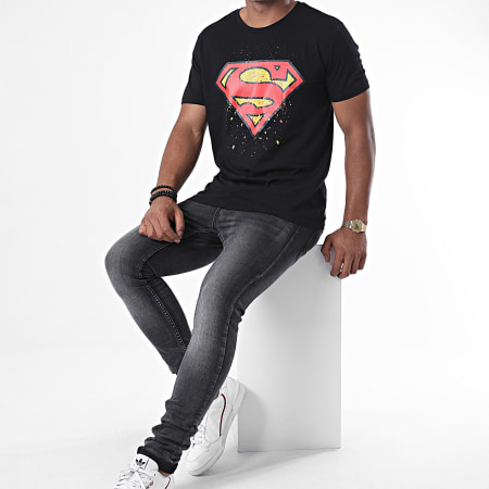Superman - Tee Shirt Splatter Noir