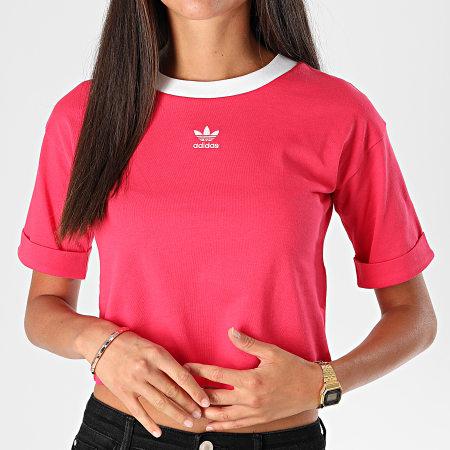 adidas - Tee Shirt Femme Crop A Bandes GD2360 Rose