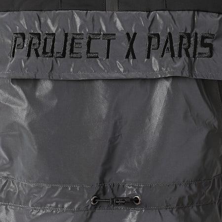 Project X - Veste Outdoor Capuche 2020079 Noir Gris Anthracite Réfléchissant Iridescent