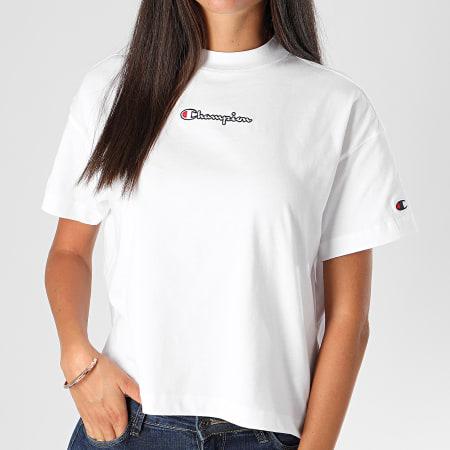 Champion - Tee Shirt Femme Crop 113195 Blanc