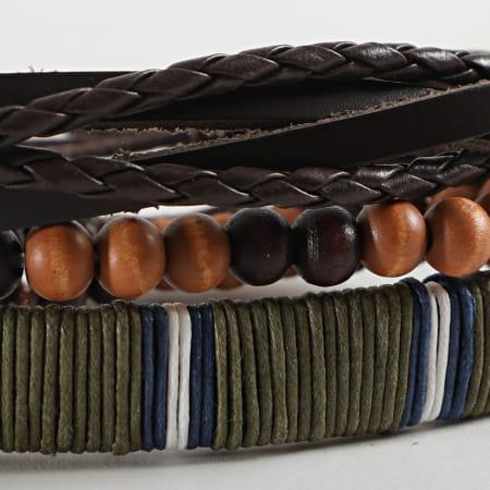 Deeluxe - Bracelet Multi-rangs Authentic Marron Vert