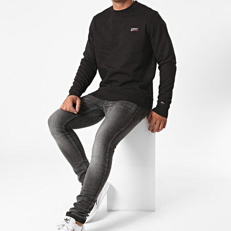 Tommy Hilfiger Jeans - Sweat Crewneck Washed Corp Logo 8413 Noir