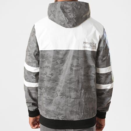 Project X - Veste Zippée Capuche 2030091 Blanc Gris Camouflage Réfléchissant