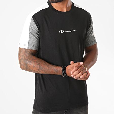 Champion - Tee Shirt Tricolore A Bandes 214820 Noir Gris Chiné Blanc