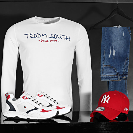 Teddy Smith - Tee Shirt Manches Longues Ticlass Basic Blanc
