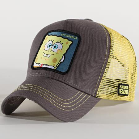 Bob L'Eponge - Casquette Trucker Spongebob Gris Jaune