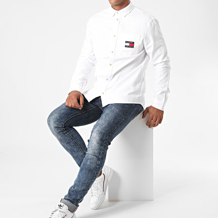 Tommy Jeans - Chemise Jean Manches Longues Brushed Oxford Badge 8775 Blanc