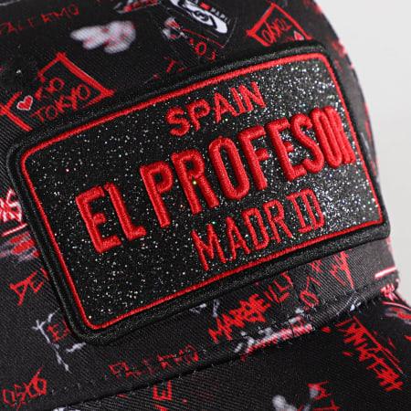 Lacrim - Casquette El Profesor Plaque Noir Rouge