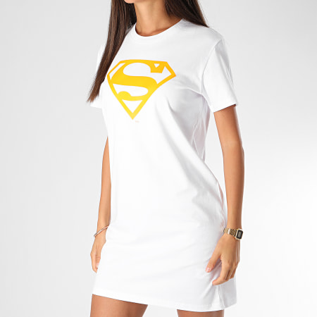 Superman - Tee Shirt Robe Femme Logo Superman Blanc Orange Fluo