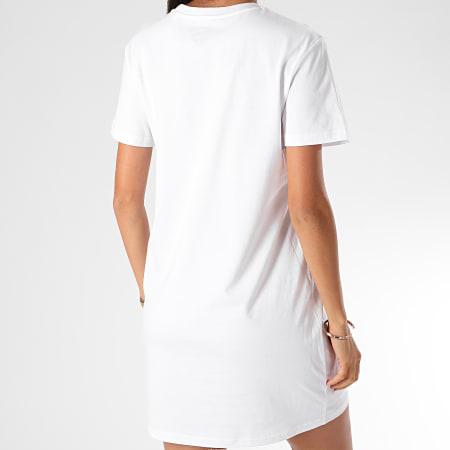 Superman - Tee Shirt Robe Femme Logo Superman Blanc Jaune Fluo