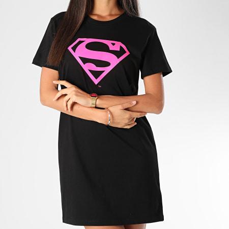 Superman - Tee Shirt Robe Femme Logo Superman Noir Rose Fluo