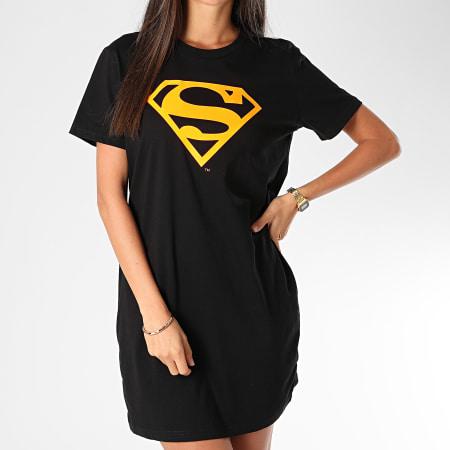 Superman - Tee Shirt Robe Femme Logo Superman Noir Orange Fluo