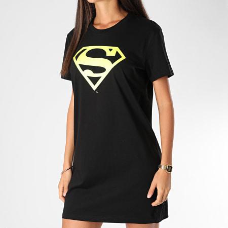 Superman - Tee Shirt Robe Femme Logo Superman Noir Jaune Fluo