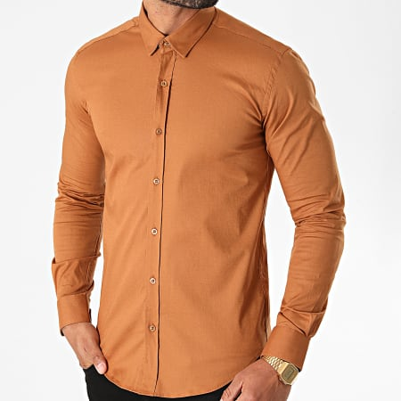 LBO - Chemise Manches Longues Slim Fit 1411 Camel